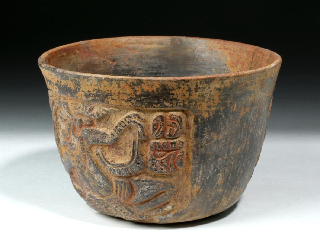 Mayan Esquintla Carved Brownware Bowl - Seated Lord - 4