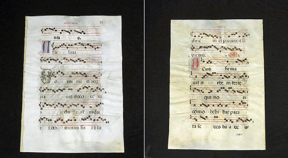 European Hand-Illustrated Vellum Antiphonal Sheet Music