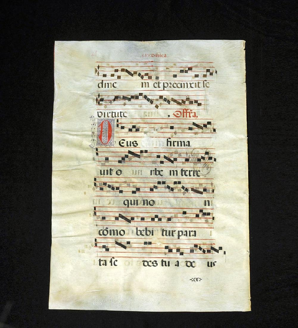European Hand-Illustrated Vellum Antiphonal Sheet Music - 2