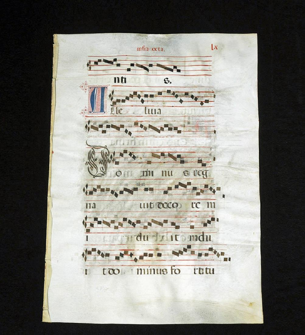 European Hand-Illustrated Vellum Antiphonal Sheet Music - 3