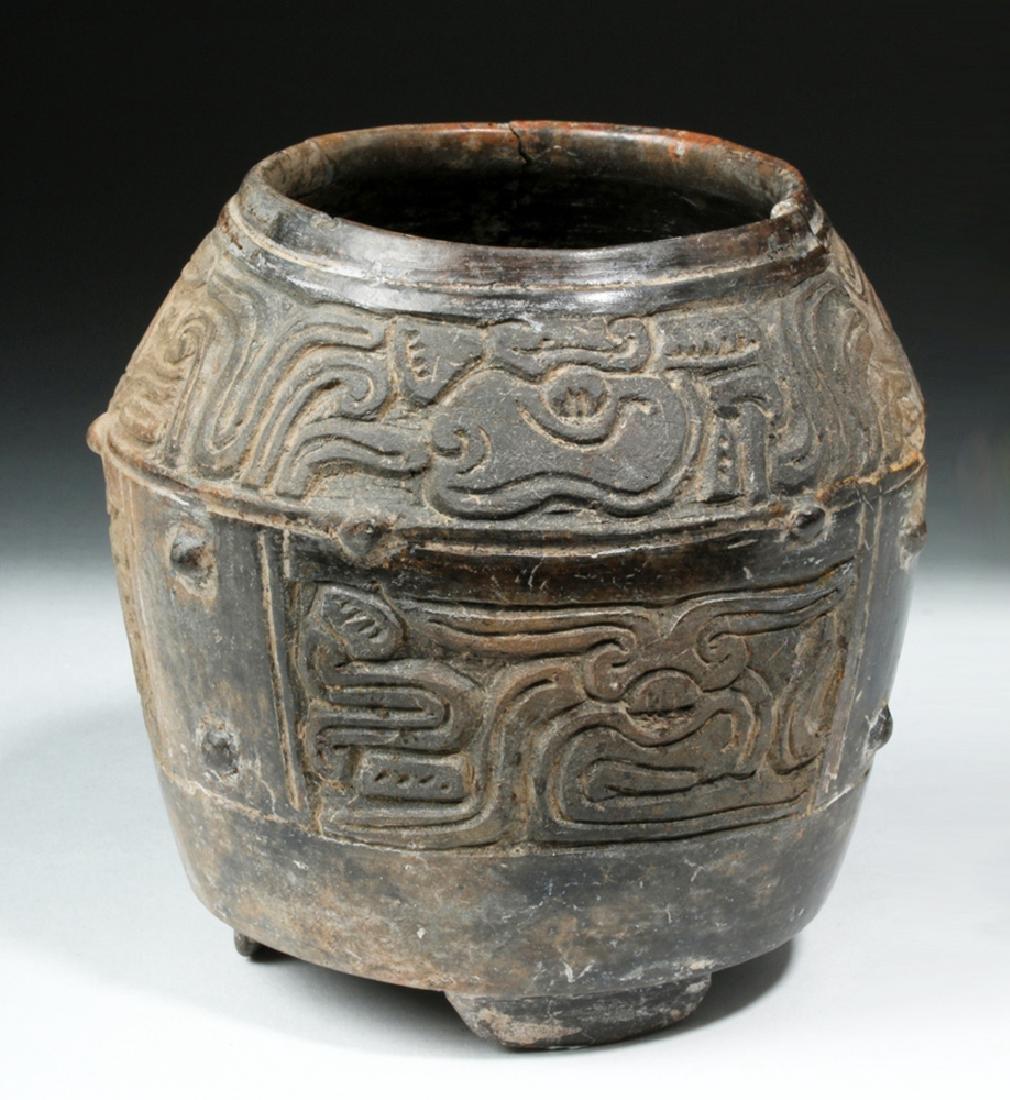 Mayan Brownware Footed Jar - Mythological Beasts