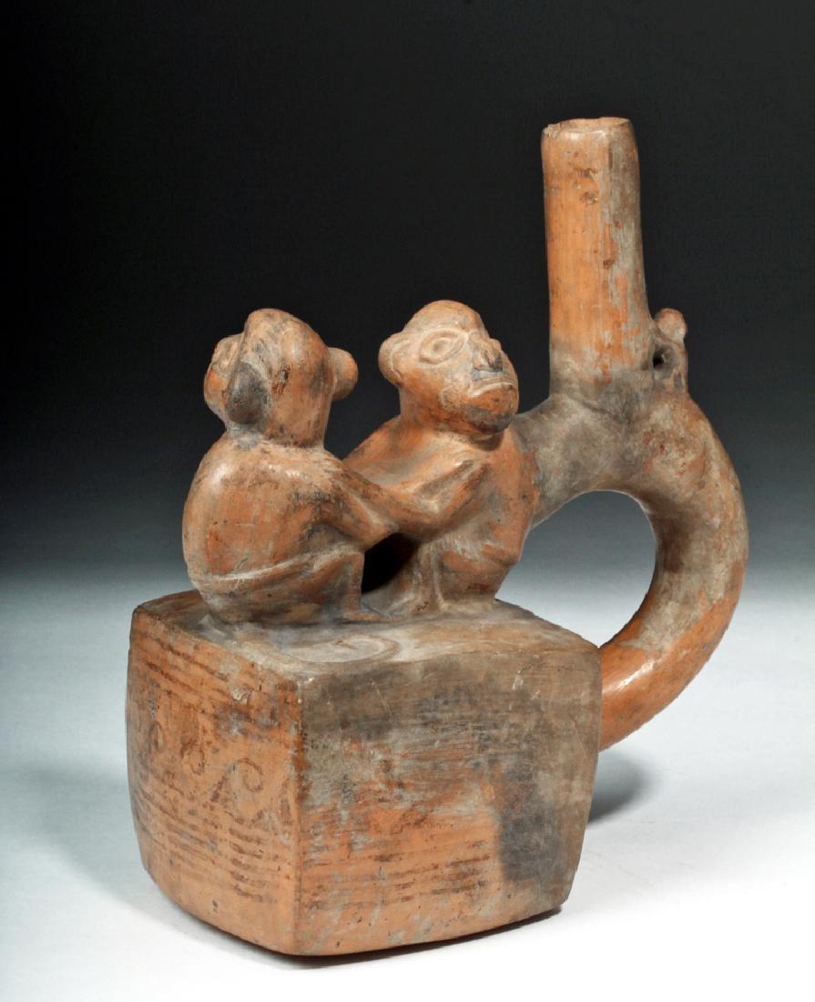 Chimu / Inca Pottery Stirrup Vessel - Monkeys
