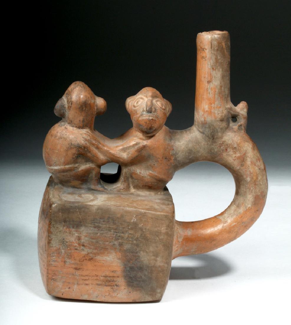 Chimu / Inca Pottery Stirrup Vessel - Monkeys - 2