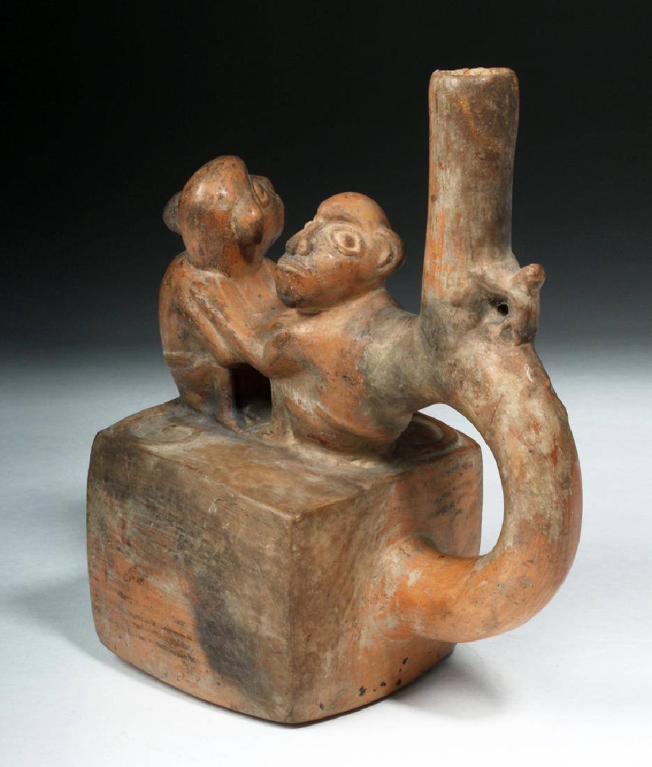 Chimu / Inca Pottery Stirrup Vessel - Monkeys - 3