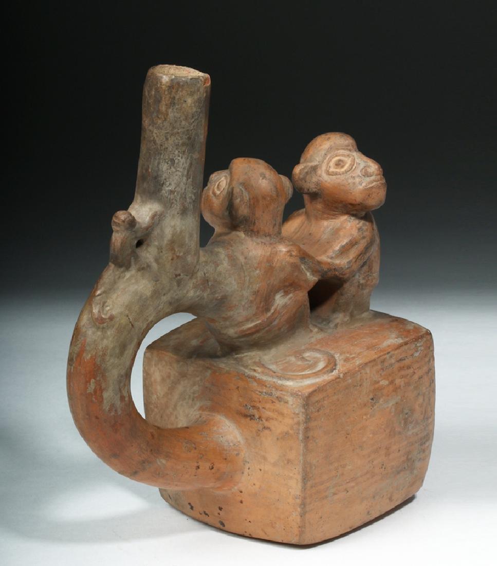 Chimu / Inca Pottery Stirrup Vessel - Monkeys - 4