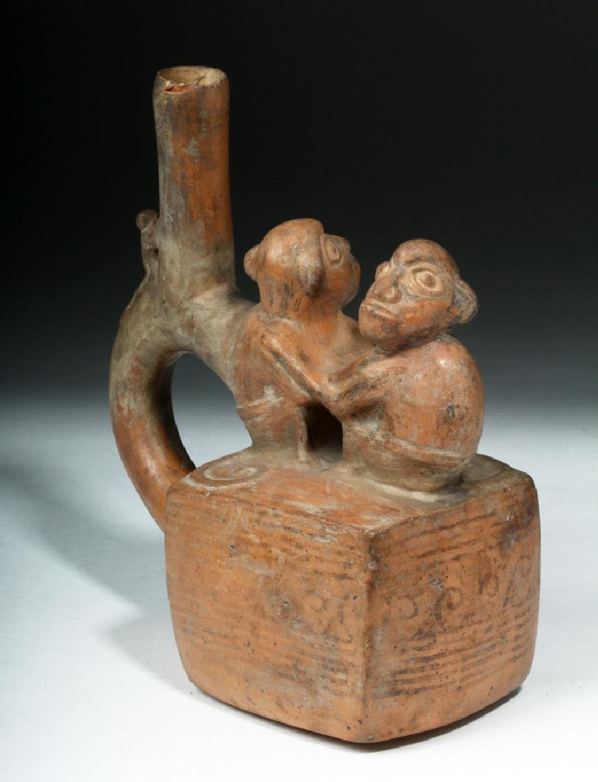 Chimu / Inca Pottery Stirrup Vessel - Monkeys - 5