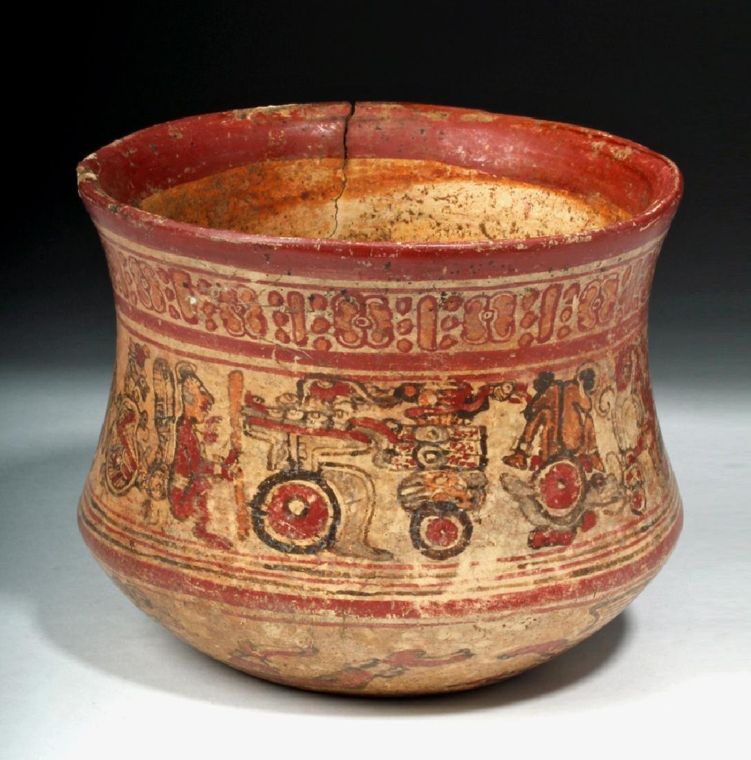 Mayan Copador Polychrome Olla - Humans / Animals