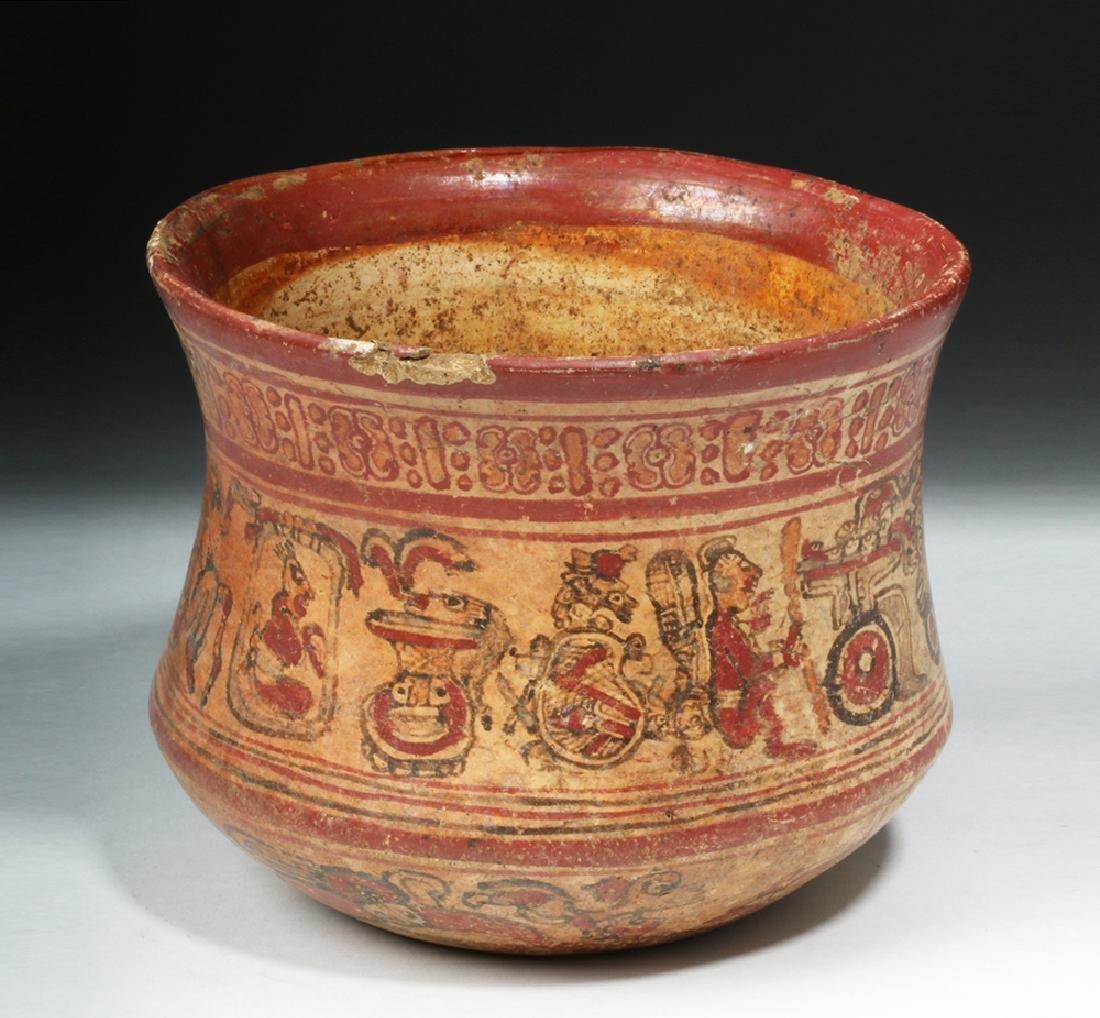 Mayan Copador Polychrome Olla - Humans / Animals - 2