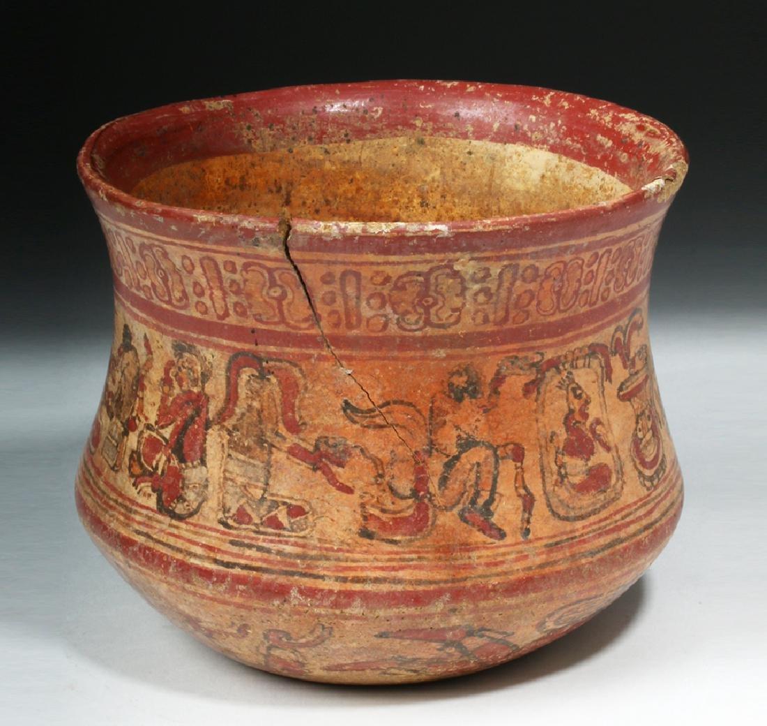 Mayan Copador Polychrome Olla - Humans / Animals - 3