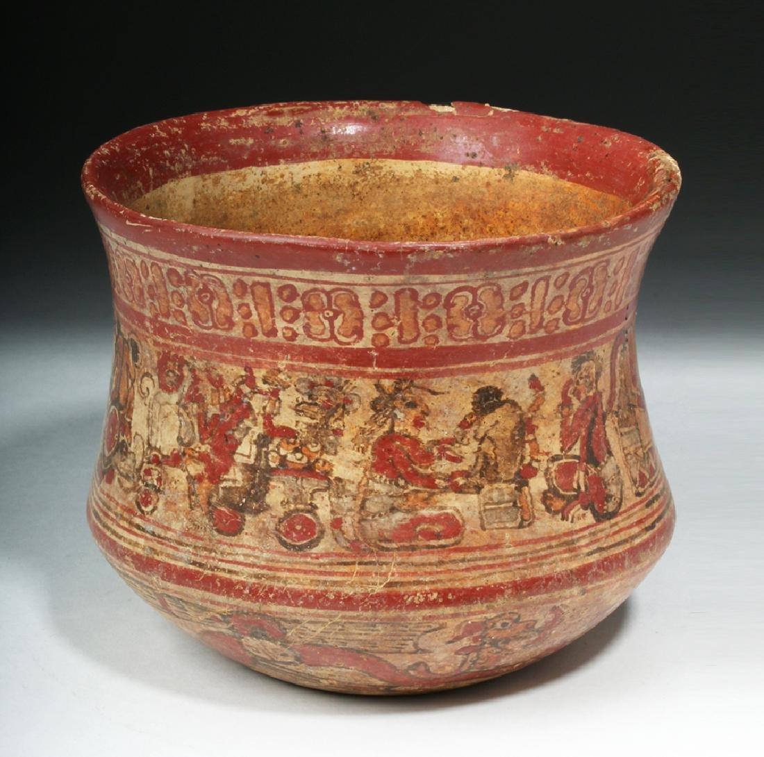 Mayan Copador Polychrome Olla - Humans / Animals - 4