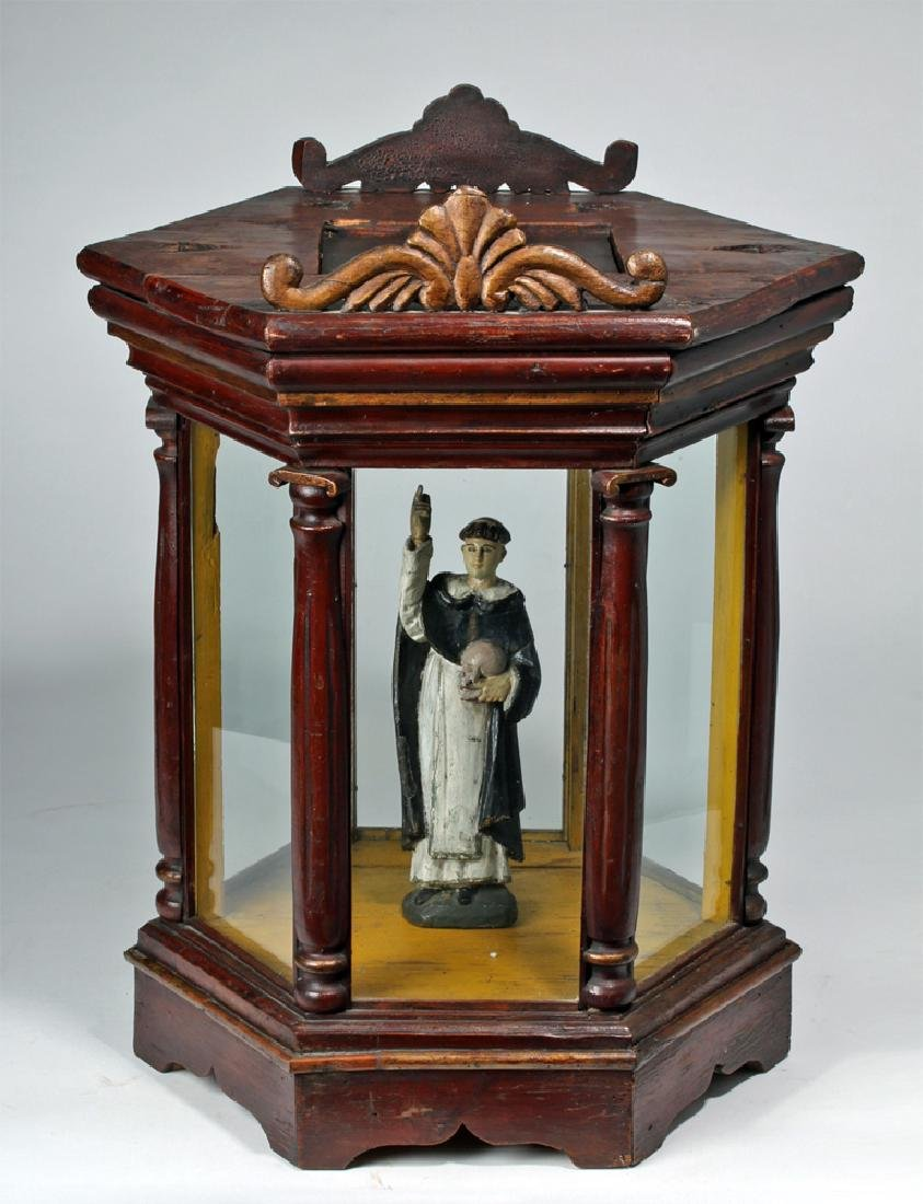 19th C. Mexico Santos Wood & Glass Nicho - St. Francis