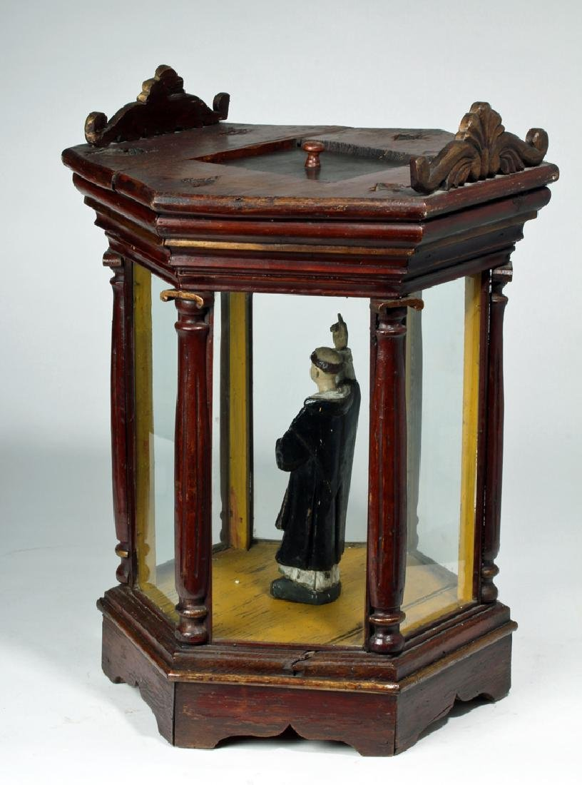 19th C. Mexico Santos Wood & Glass Nicho - St. Francis - 3