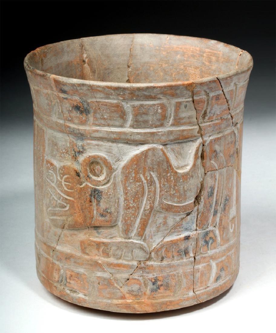 Mayan Carved Orangeware Cylinder w/ Jaguars