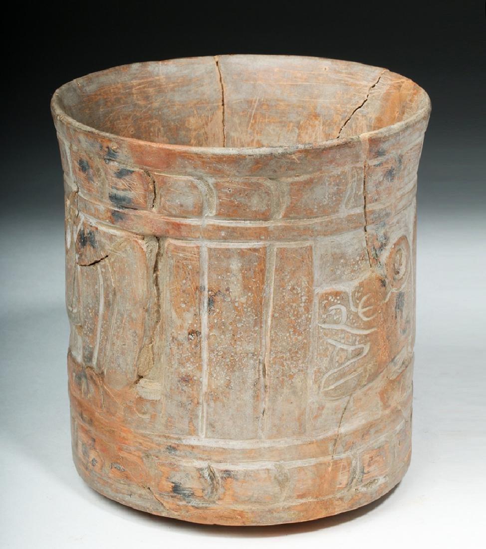 Mayan Carved Orangeware Cylinder w/ Jaguars - 2