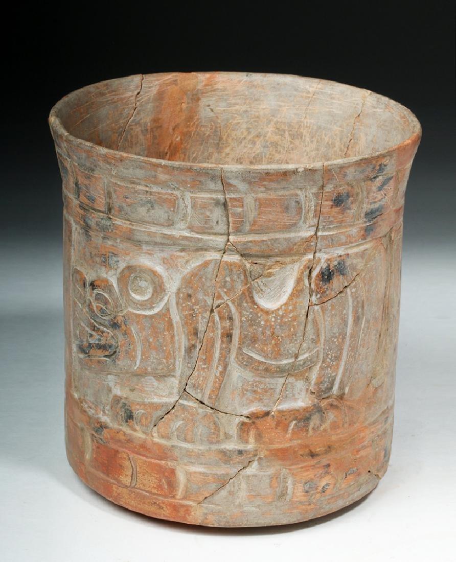 Mayan Carved Orangeware Cylinder w/ Jaguars - 3