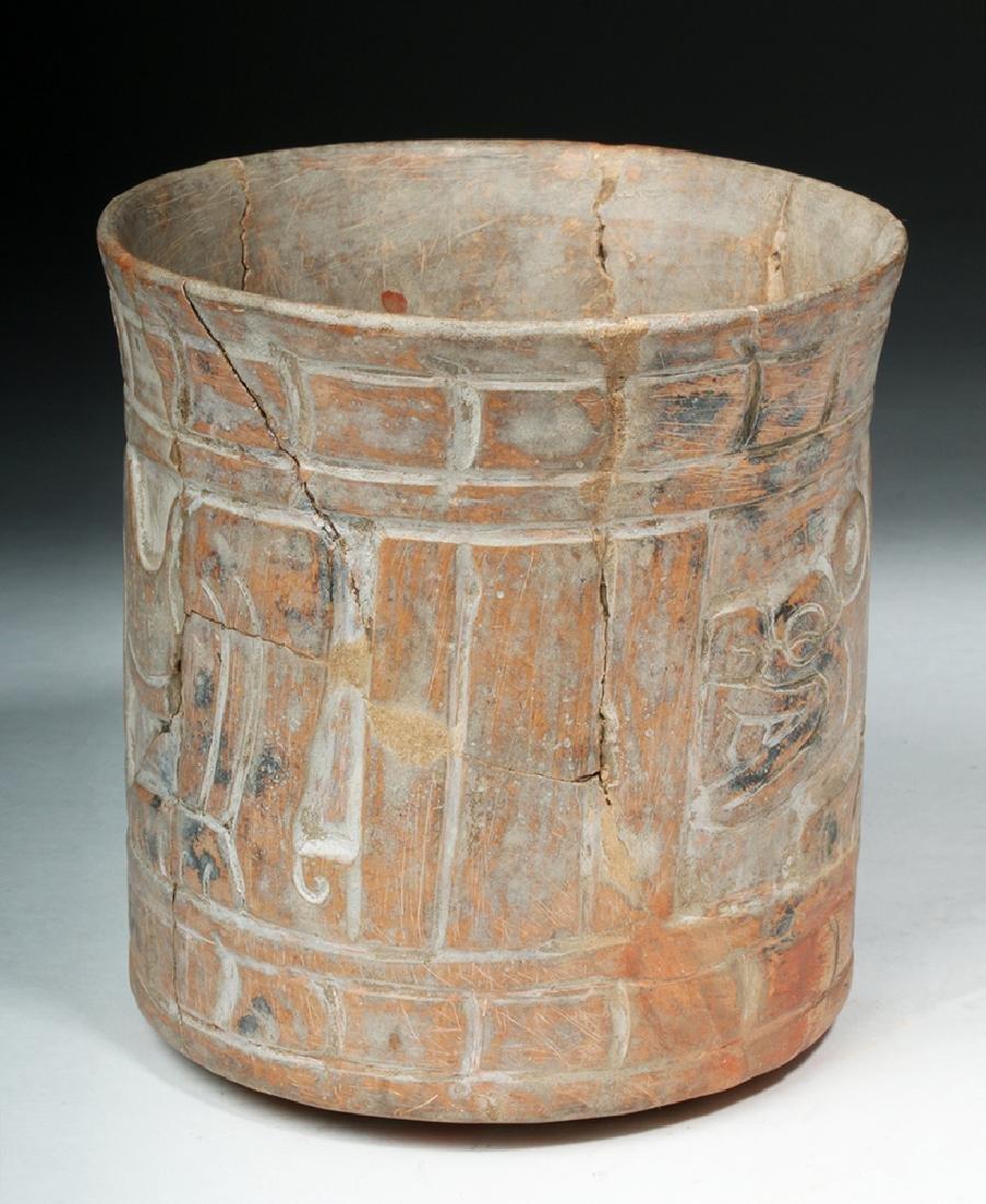 Mayan Carved Orangeware Cylinder w/ Jaguars - 4