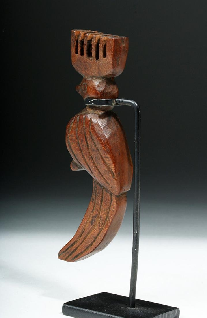 Antique Guatemalan Wooden Slingshot - Crested Bird - 5