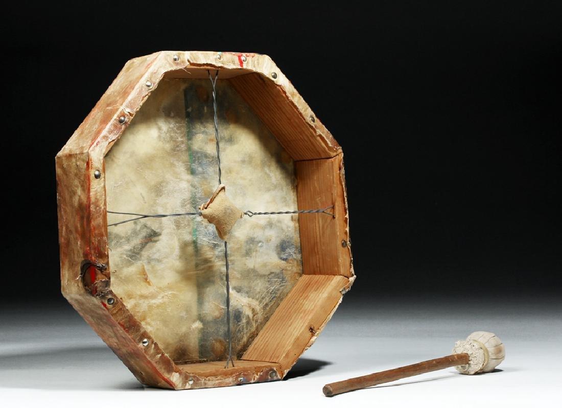 20th C. Plains Indian Hide Drum, Bear & Hail Storm - 4