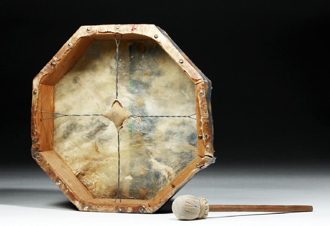 20th C. Plains Indian Hide Drum, Bear & Hail Storm - 5