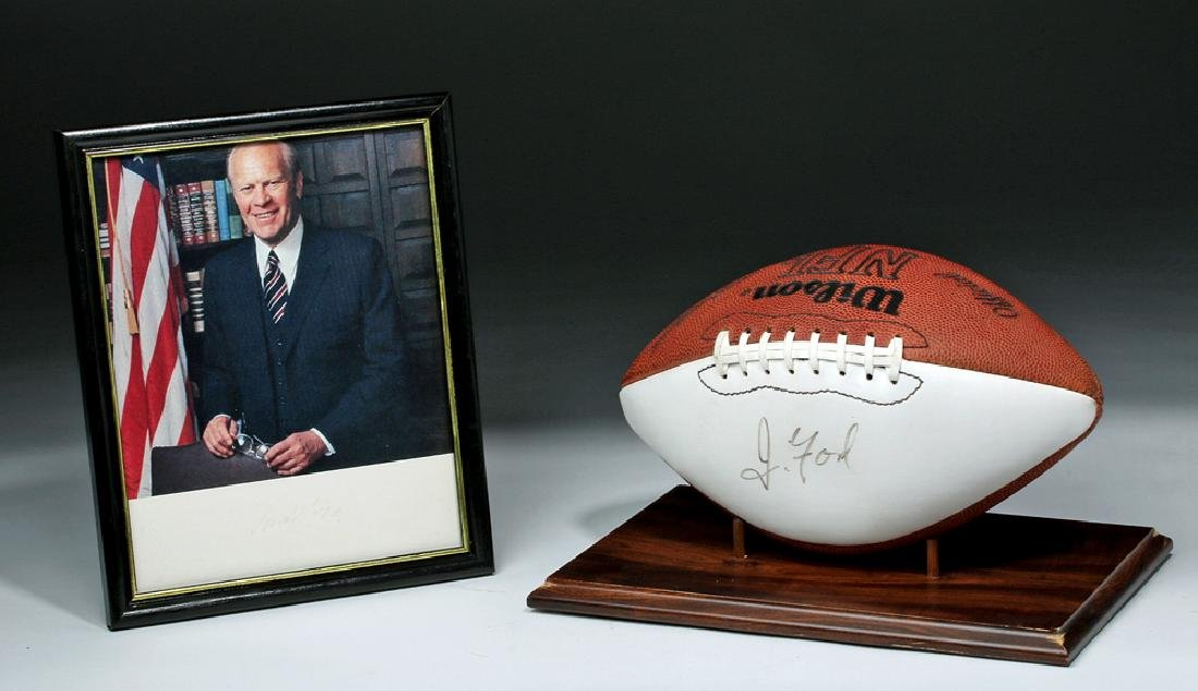 Signed Gerald Ford Photo and Football