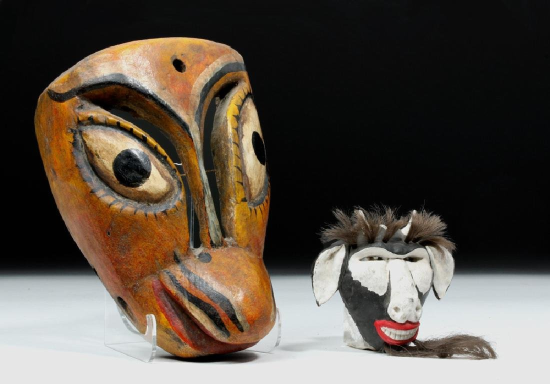 20th C. Mexican Painted Wood Masks - Animals