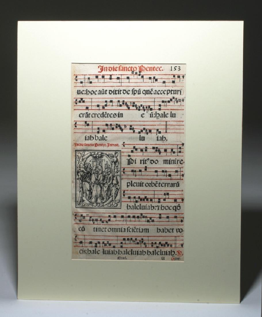 16th C. Italian Hymnal Leaf - Petri Liechtenstein