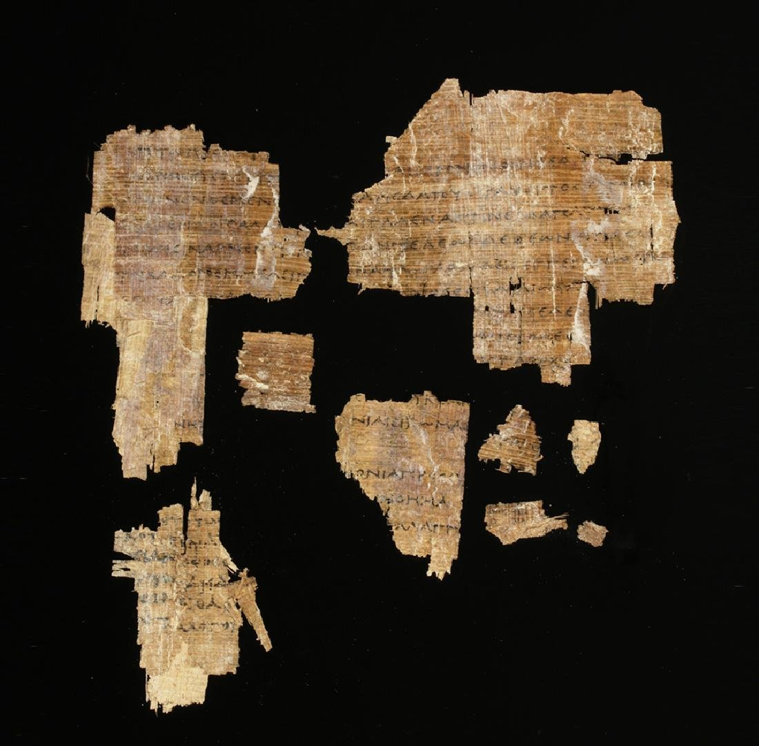 Group Egyptian Papyrus Fragments Greek / Demotic Script