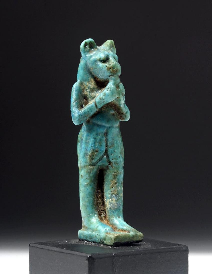 Rare Miniature Egyptian Faience Statuette of Maahes