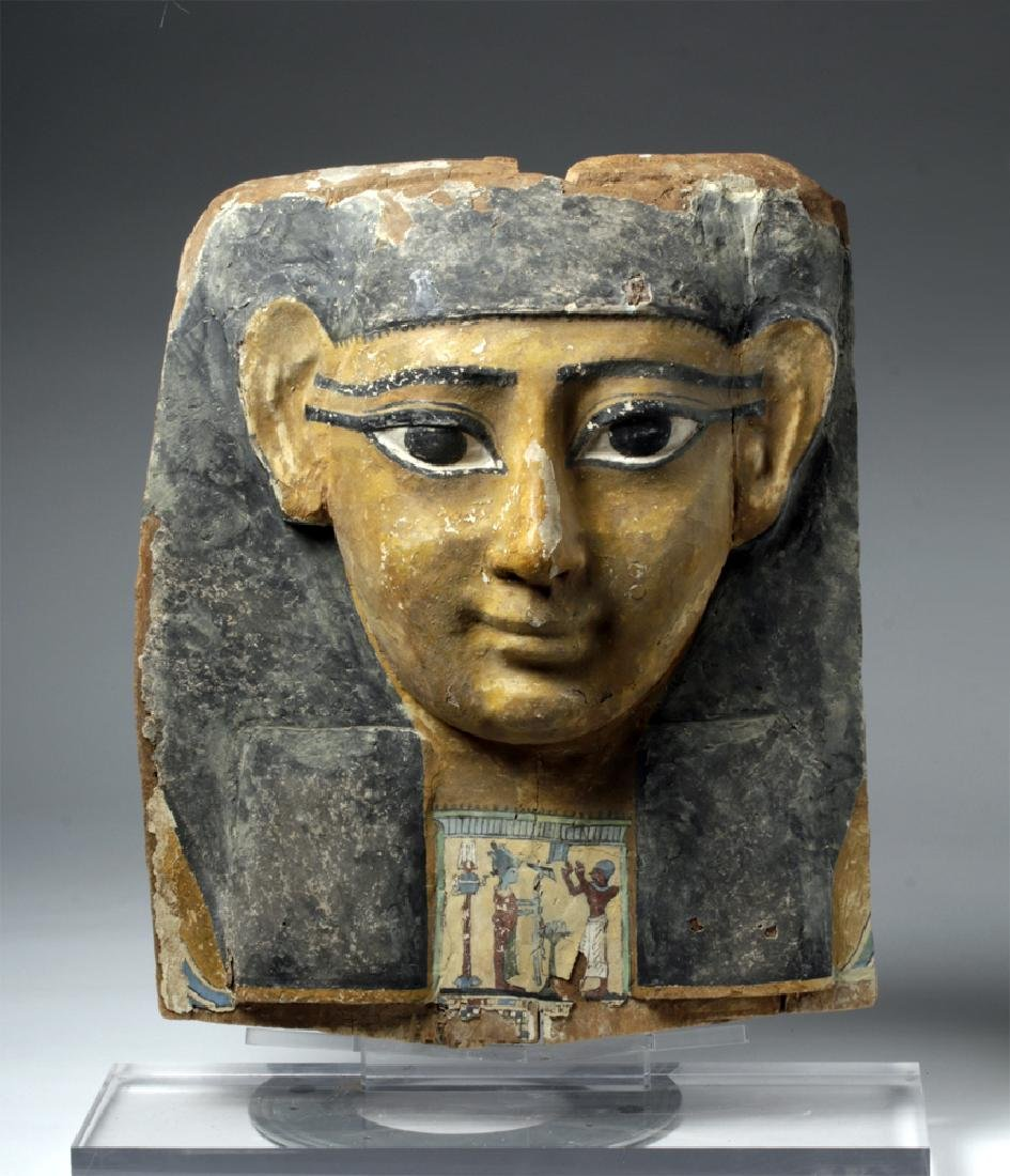 Superb Egyptian Wooden Sarcophagus Mask / Bust