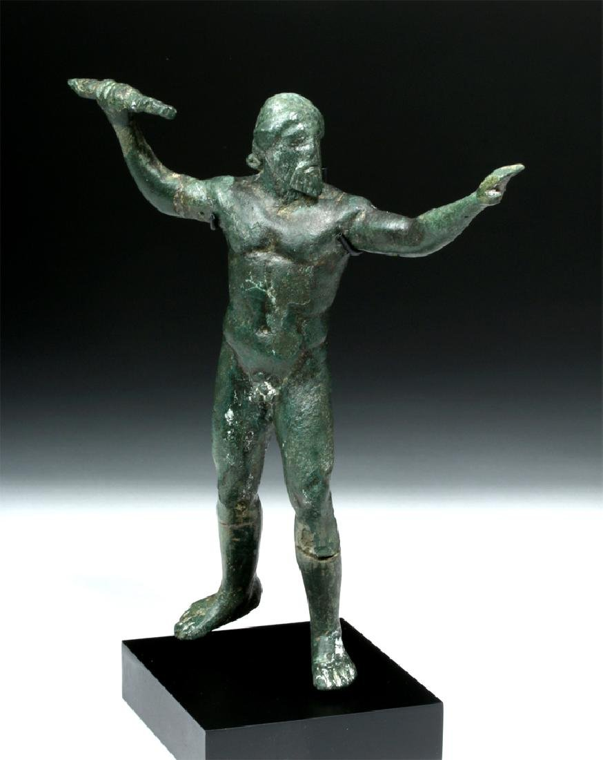 Greek Bronze Nude Zeus Keraunios Hurling A Thunderbolt