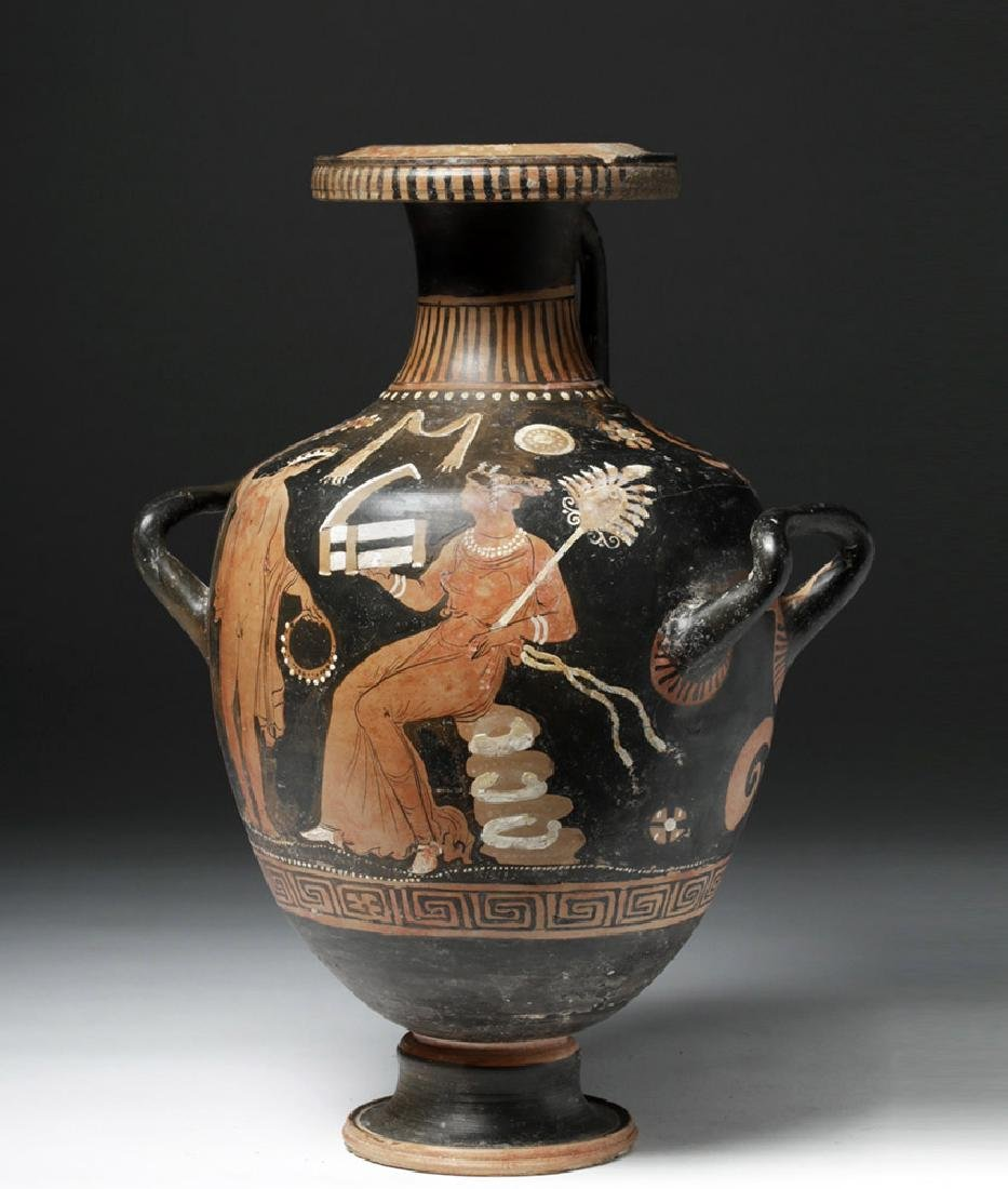 Greek Apulian Red Figure Pottery Hydria