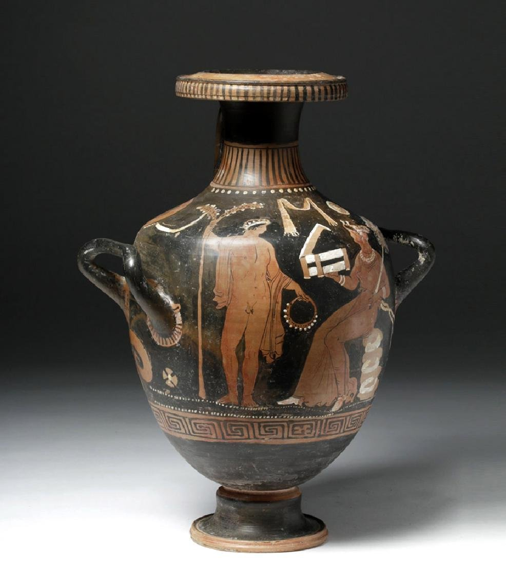 Greek Apulian Red Figure Pottery Hydria - 4