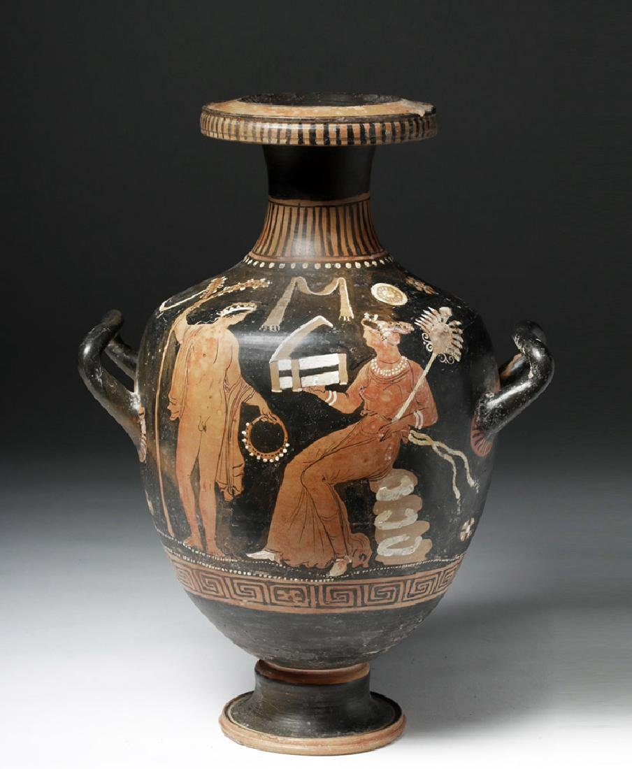 Greek Apulian Red Figure Pottery Hydria - 5
