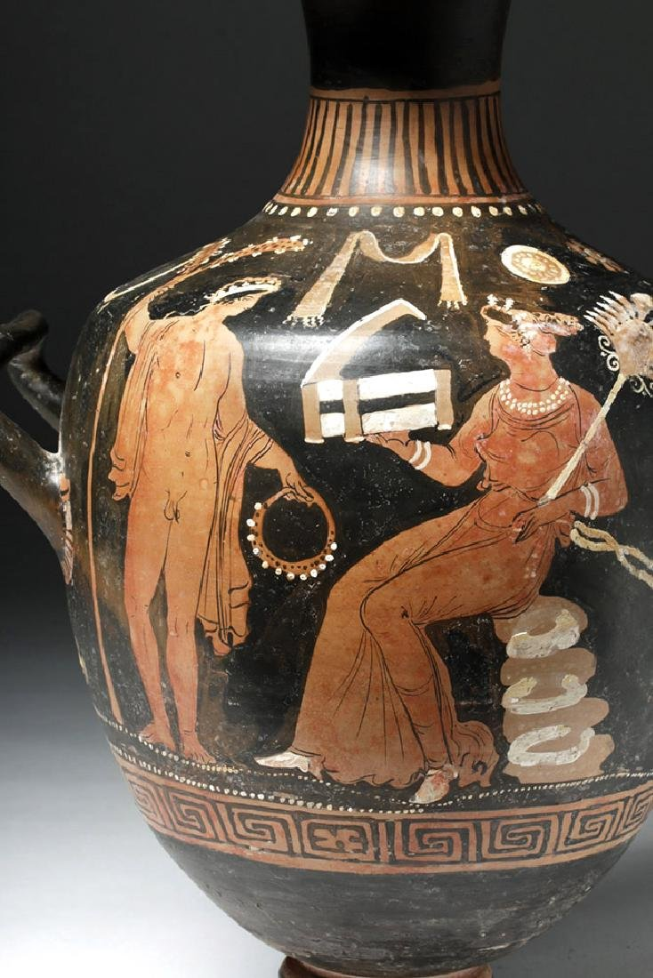 Greek Apulian Red Figure Pottery Hydria - 6