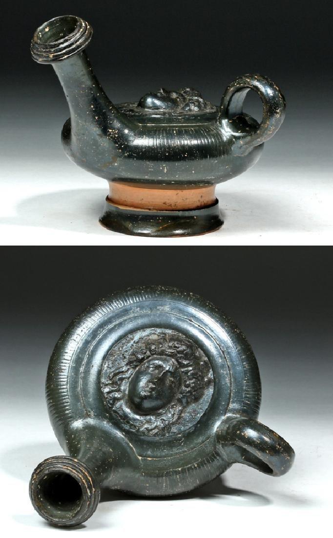 Greek Campanian Blackware Guttos w/ Medusa