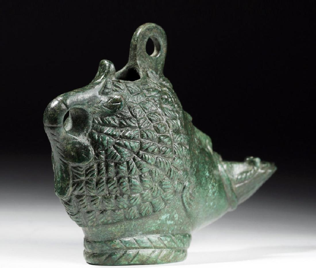 Exceptional Roman Bronze Oil Lamp - Nubian - 3