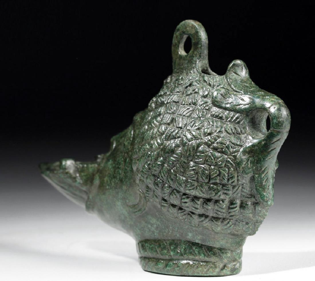 Exceptional Roman Bronze Oil Lamp - Nubian - 4