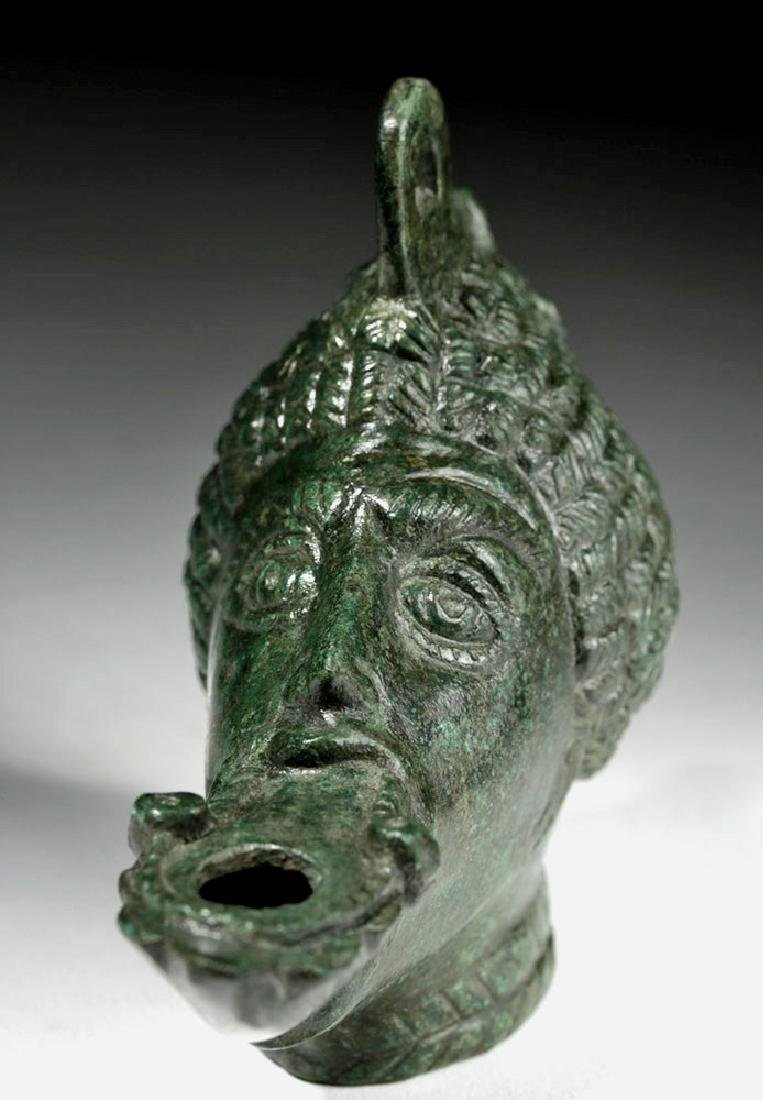 Exceptional Roman Bronze Oil Lamp - Nubian - 7