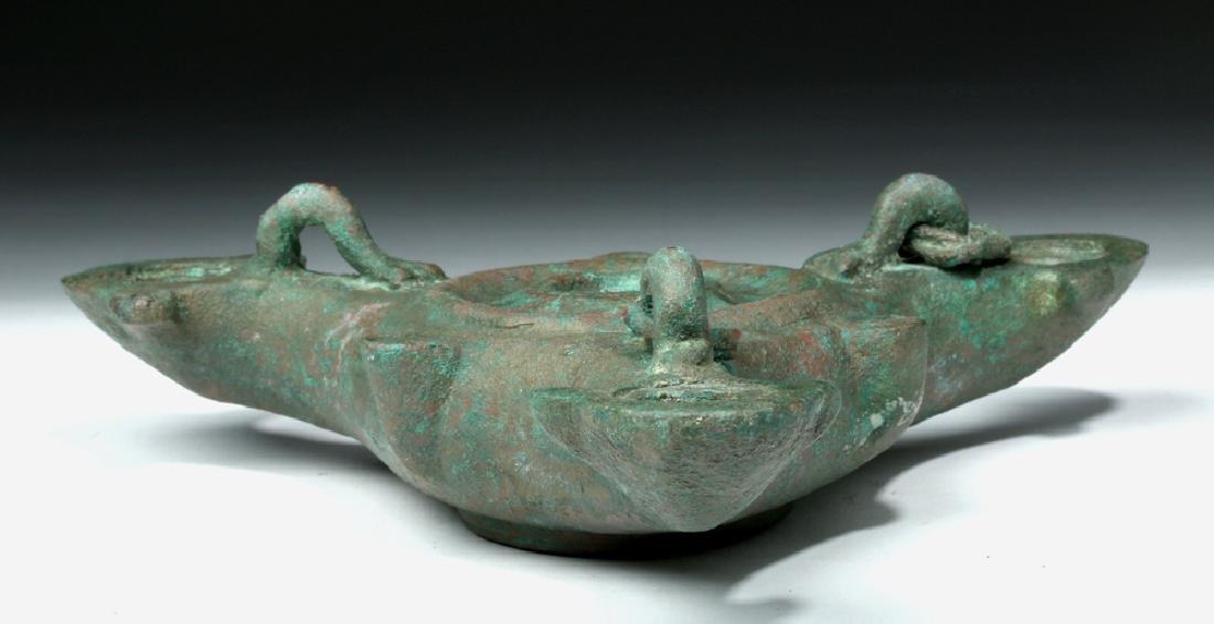 Roman Bronze Three Nozzle Oil Lamp - 5