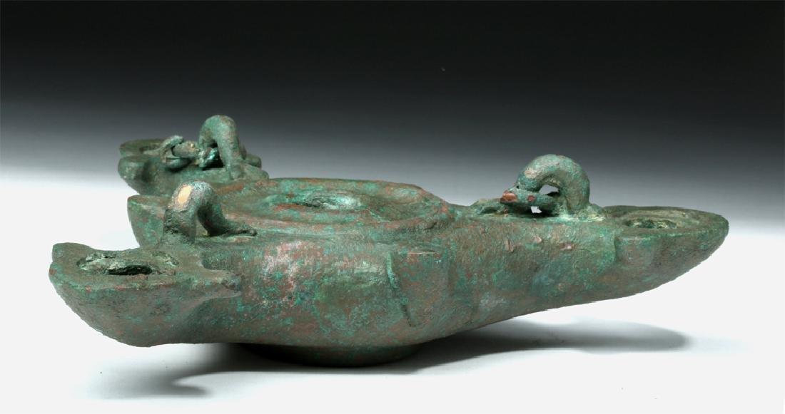 Roman Bronze Three Nozzle Oil Lamp - 6