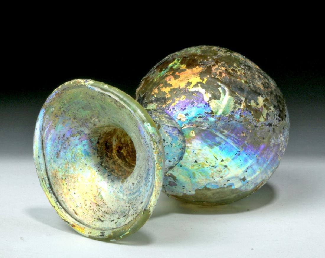 Roman Glass Sprinkler Flask - Fiery Iridescence