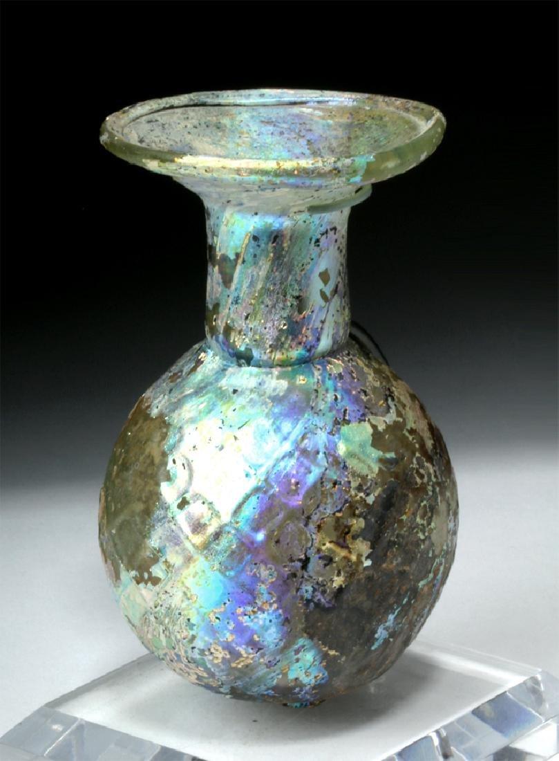 Roman Glass Sprinkler Flask - Fiery Iridescence - 2
