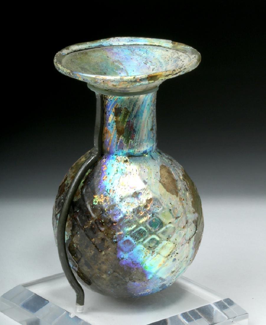 Roman Glass Sprinkler Flask - Fiery Iridescence - 3