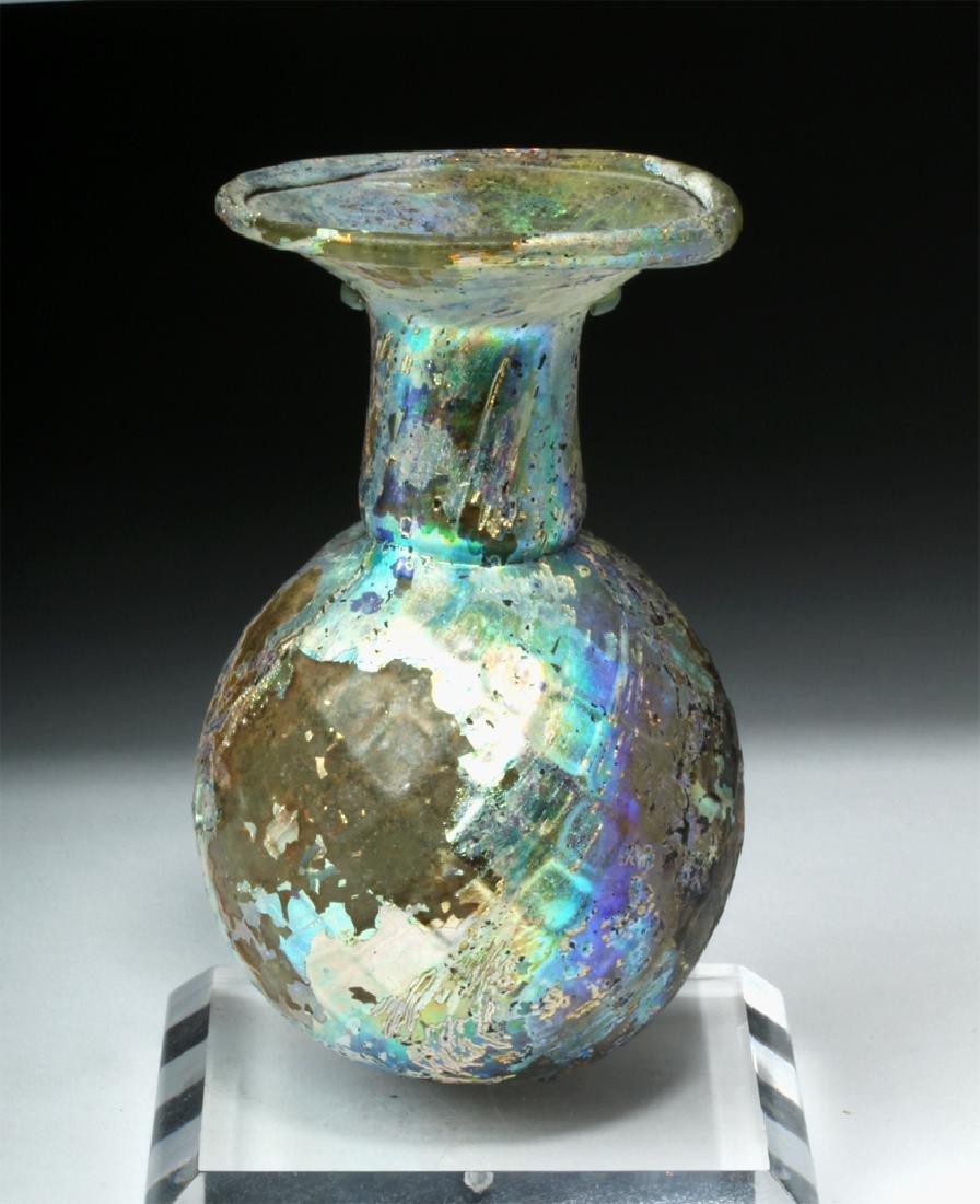 Roman Glass Sprinkler Flask - Fiery Iridescence - 4