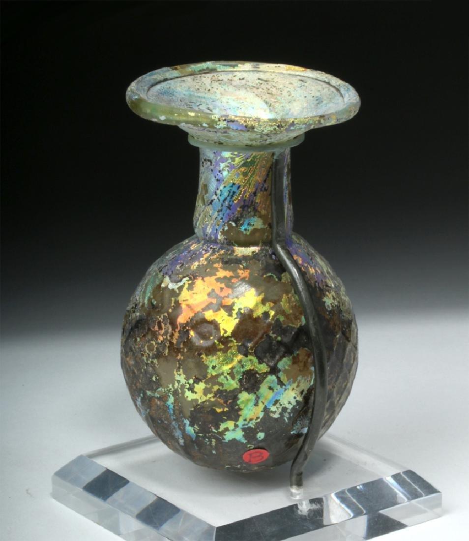 Roman Glass Sprinkler Flask - Fiery Iridescence - 5