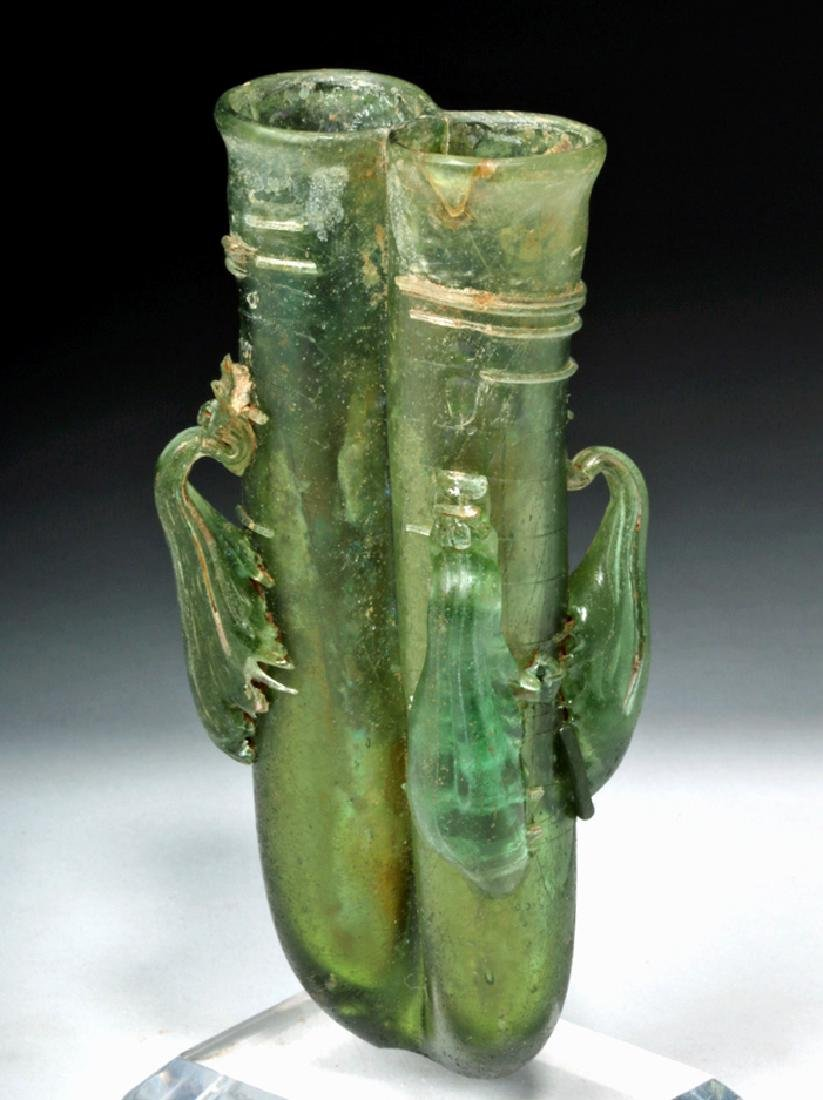 Roman Green Glass 4-Handled Double Unguent