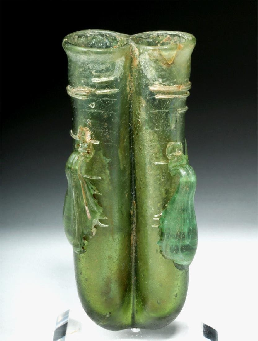 Roman Green Glass 4-Handled Double Unguent - 2
