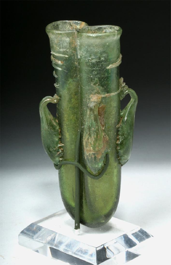 Roman Green Glass 4-Handled Double Unguent - 4