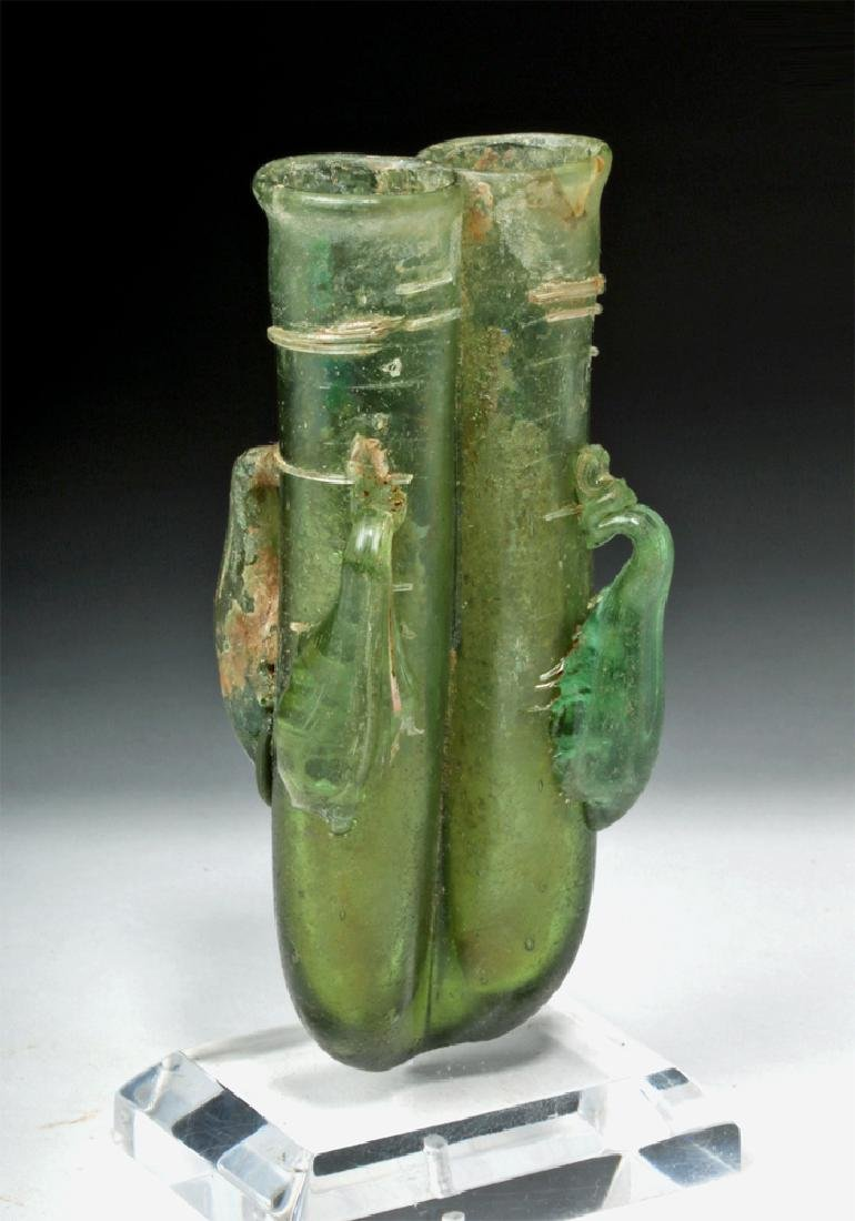 Roman Green Glass 4-Handled Double Unguent - 5