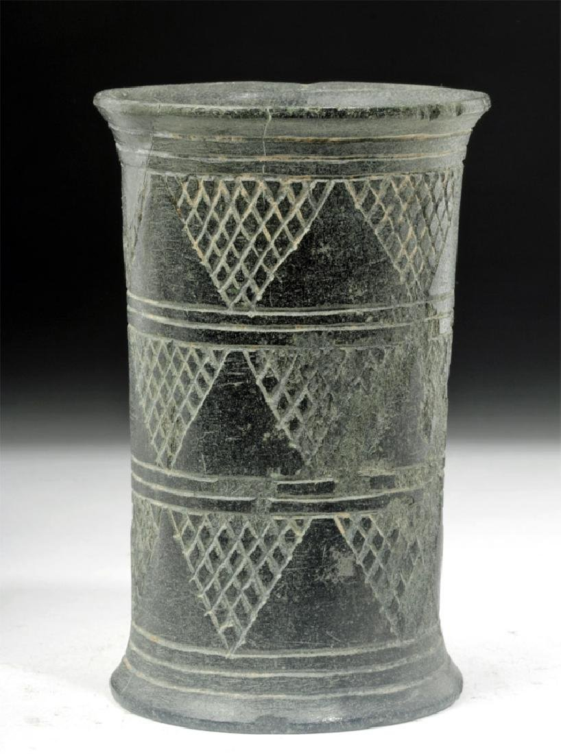 Bactrian Incised Green Schist Beaker, Cylindrical Form